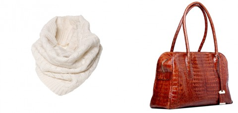 cuello de lana y bolso en piel de cocodrilo